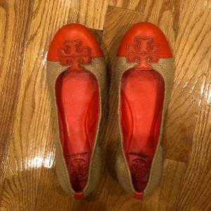 Tory Burch Leather/Raffia Reva Flats - size 8.5